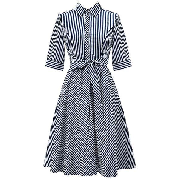 Black Striped Swing Shirt Dress (2.830 RUB) ❤ liked on Polyvore featuring dresses, striped shirt dress, long shirt dress, shirt dress, t-shirt dresses and stripe dresses