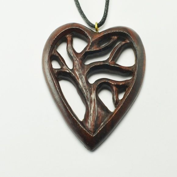 """Tree of Life Heart Pendant Hand carved Sono wood Tree Of Life Heart Pendant with adjustable necklace cord to fit all sizes. Approximately 2"""" Length by 1.5"""" Width. Jewelry Necklaces"""