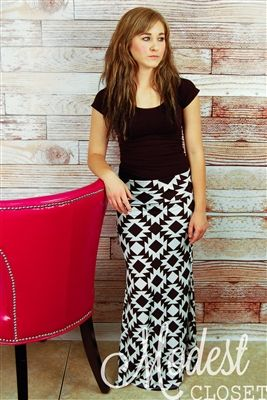 Elsie Aztec Maxi Skirt. Modest Closet. A pretty cute site with inexpensive clothes. Need to remember.