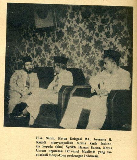 H. Agus Salim menyampaikan ucapan terima kasih atas dukungan Ikhwanul Muslimin dalam pengakuan kemerdekaan Indonesia
