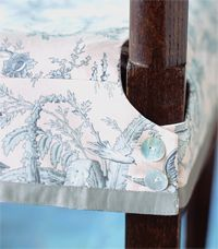 Dining chair slip cover. Love the button and trim detail.