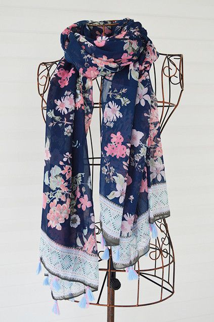The Blue Floral Tassel Scarf