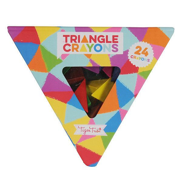 Crayon Pack - Triangles Draw, scribble and colour to your heart's content with Tiger Tribe's Triangle Crayon Pack. Each pack includes 24 multicoloured triangular crayons, cleverly housed in a triangular box! Made from a combination of paraffin and plastic, these crayons have all been carefully tested to meet EN-71 testing standards.   Suitable for ages 3+
