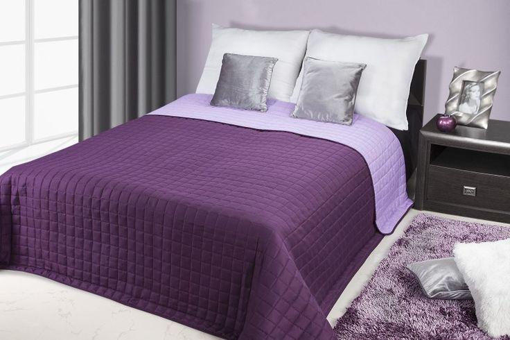 Dwustronna wrzosowo fioletowa narzuta na łóżko