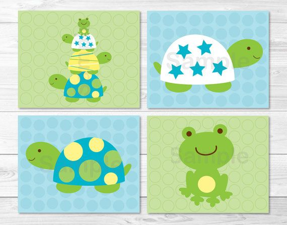 Modern Turtle Frog Nursery Wall Art by LittlePrintsParties on Etsy