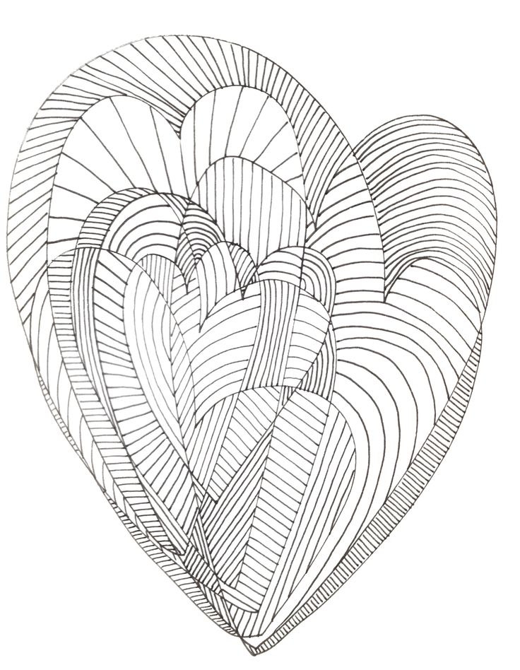 heart zentangle coloring pages - photo#29