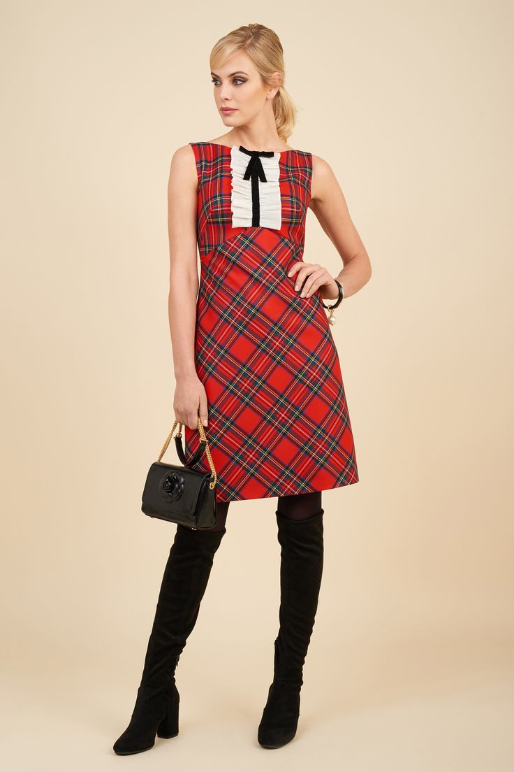 Woven wool blend dress with silk organza insert and Isole bag.