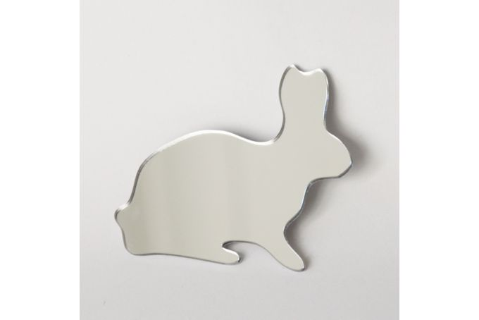 Rabbit mirror brooch by Rumours of Ribbons