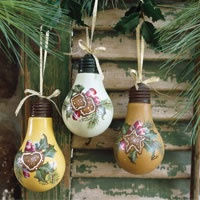Check out these pretty upcycled light bulb ornaments.