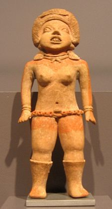 """Female figure, often identified as a ballplayer. Formative Period Xochipala figurines, 1500 B.C to 200 C.E., Mexico. """"Expressive gestures, naturalistic forms of hair, breasts, and plastic arms and legs make early and rare Xochipala figures among the finest ceramic works of the ancient New World.""""  """"These primal works of superb technical virtuosity represent some of the greatest ceramic figurines in all of the vast body of Mesoamerican art."""" wiki quotes"""