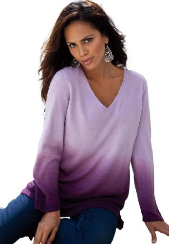 Denim 24/7 Women`s Plus Size Pullover V-Neck Ombre - List price: $80.25 Price: $35.25 Saving: $45.00 (56%)