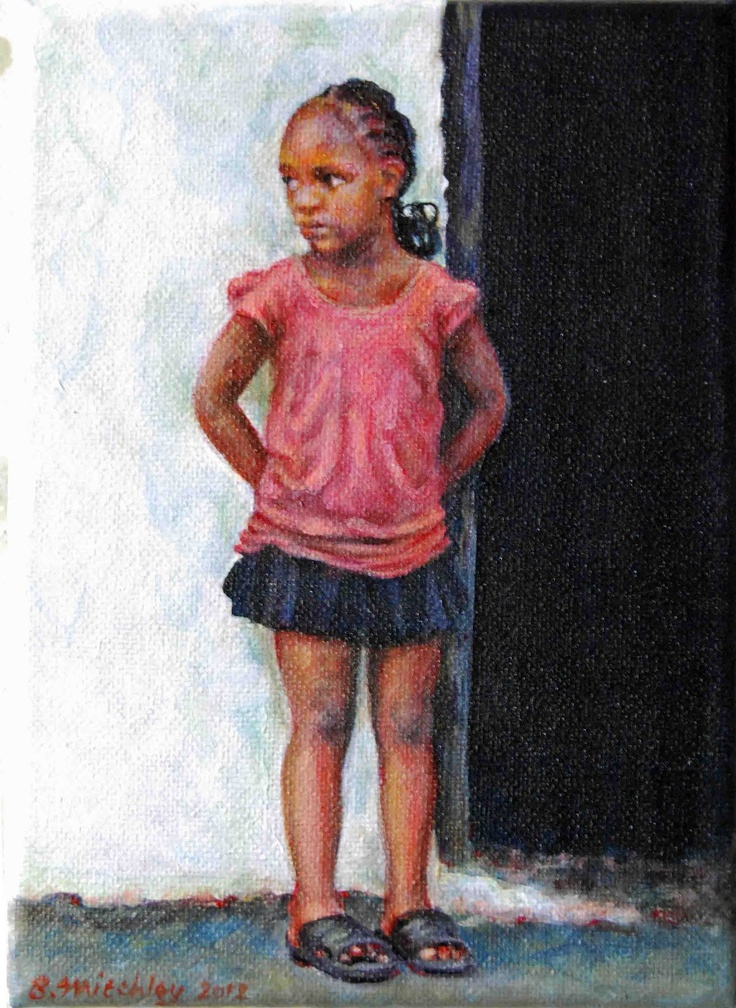 "'Waiting' (SOLD)   Acrylic on Canvas   130mmx180mm   5"" x 7"" #Art #Painting #Acrylic #Fine_Arts #Contemporary #Benjamin_Mitchley #Figurative #Female #South_Africa"