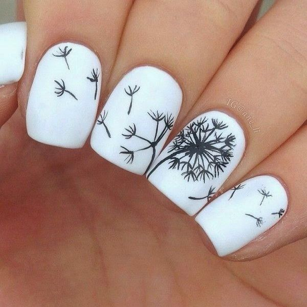 Cute Dandelion Nail Art Designs