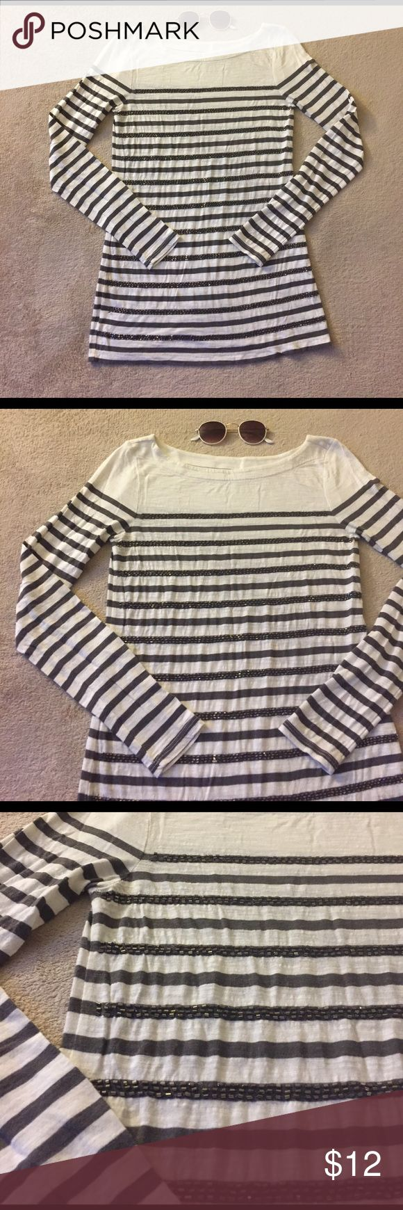 LOFT Sz XS Long Sleeve Beaded Stripe Tee Ann Taylor LOFT size XS long sleeve cream tee with gray stripes and beaded appliqués. Light weight material with heathered and/or burnout look/feel. 100% cotton. LOFT Tops Tees - Long Sleeve