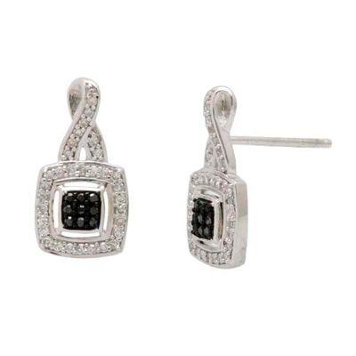1/4 CT. T.W. Black and White Diamond Twist Frame Earrings in 10K White Gold