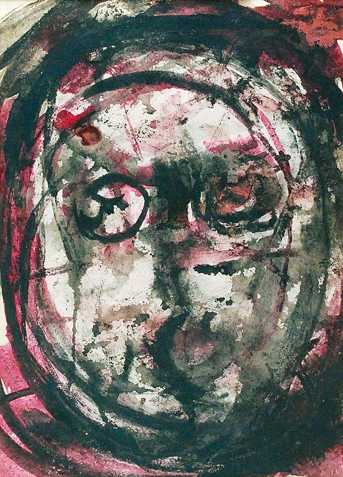 Jerzy PANEK (1918-2001)  Głowa, 1962 akwarela, papier; 28,5 x 20,5 cm (w świetle oprawy);