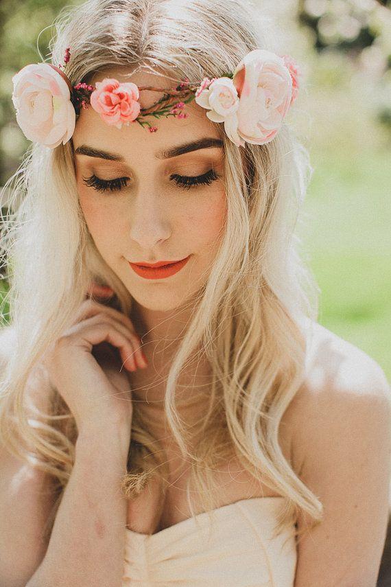 LUCY - ranunculus rose wreath, wedding flower crown, bridal hair accessory, pink floral headpiece, boho hair wreath