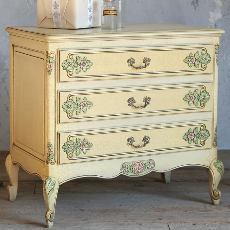 Eloquence One of a Kind Vintage Commode Louis XV Lemon Yellow