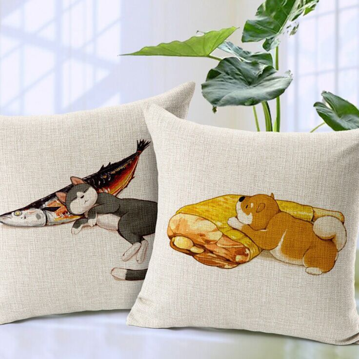 Sleeping cat Dog printed animal cushion covers home decoration square sofa throw pillowcase set 45x45cm cushion seat pad conjies #Affiliate