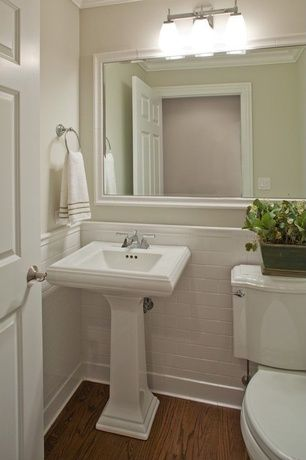 Traditional Powder Room with Kichler lighting uptown 3 light bathroom light, American standard town square pedestal sink