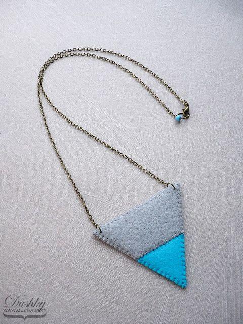 twotone triangle necklace by dushky   #triangle #felt #jewellery #grey #turquoise #geometric #dushky #handmade