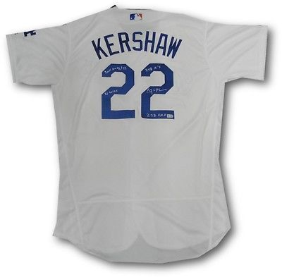 Clayton Kershaw Hand Signed Autographed Authentic Dodgers Jersey 2011 Cy Stats