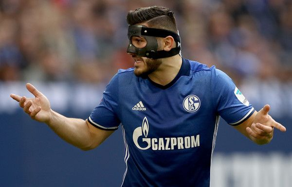 Sead Kolasinac of Schalke gestures during the Bundesliga match between FC Schalke 04 and FC Augsburg at Veltins-Arena on March 12, 2017 in Gelsenkirchen, Germany.