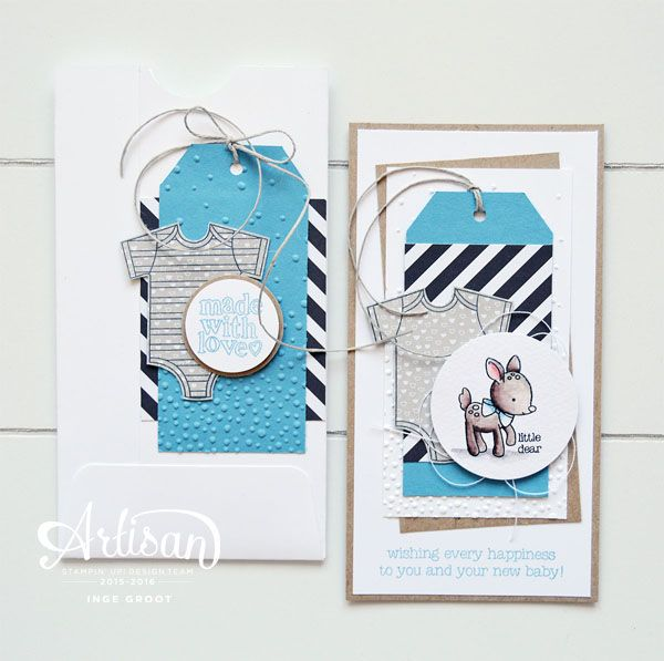 Made With Love stampset, Gift Bag Punch Board, Baby, Baby Gift, watercoloring ~Inge Groot