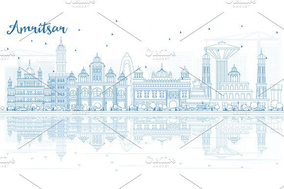 #Outline #Amritsar #Skyline by Igor Sorokin on @creativemarket