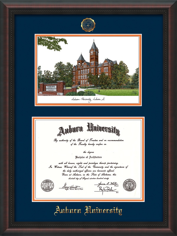 Auburn University Diploma Frame: Hardwood moulding w/official Auburn Seal and school name embossed in gold - limited edition watercolor of campus landmark - Navy on Orange Mat. Makes a unique graduation gift!