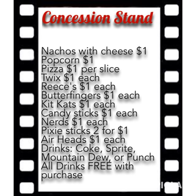 Concession Stand Menu Party Ideas Party Games