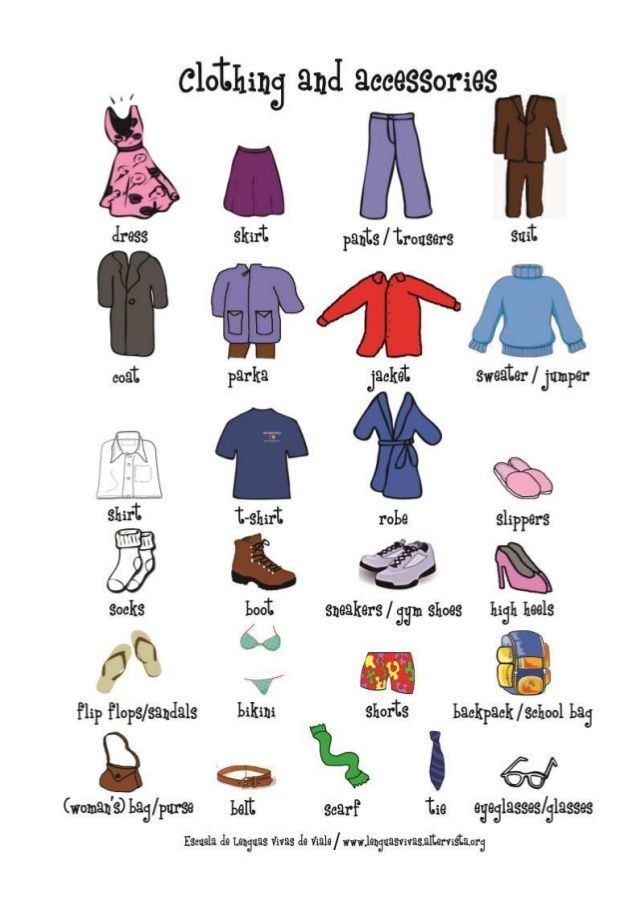 Fashion Dresses Accessories: Clothing And Accessories Mini Pictionary + Activity