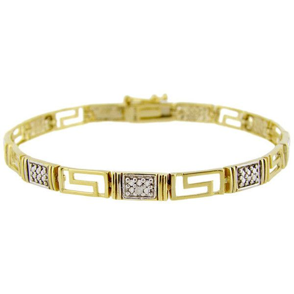 DB Designs Sterling Silver Diamond Accent Greek Key Bracelet ($27) ❤ liked on Polyvore featuring jewelry, bracelets, yellow, yellow jewelry, sterling silver jewellery, greek key bracelet, 18k bangle and sterling silver bangles