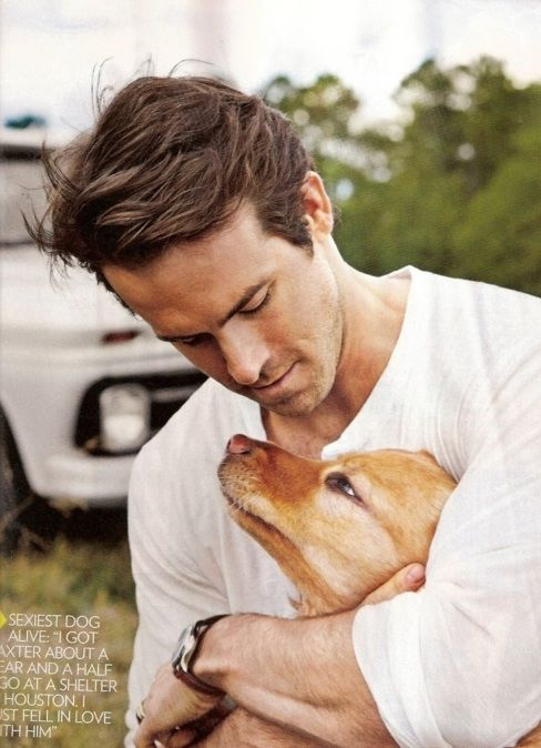 Ryan Reynolds & Baxter: Eye Candy, Puppies, Ryan Reynolds, Pet, Boys, Dogs Lovers, Hot Guys, Cute Dogs, Animal