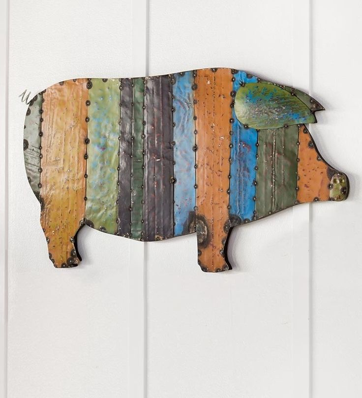 Recycled Metal Handmade Pig Wall Art Recycled Metal Art Pig Wall Art Pig Art