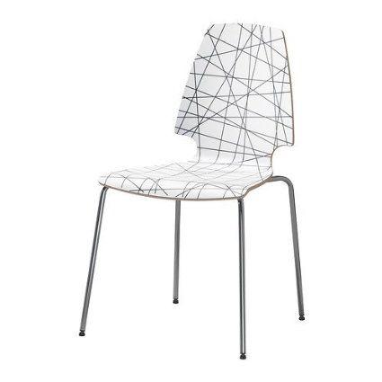 IKEA VILMAR - Chair, striped black, chrome-plated