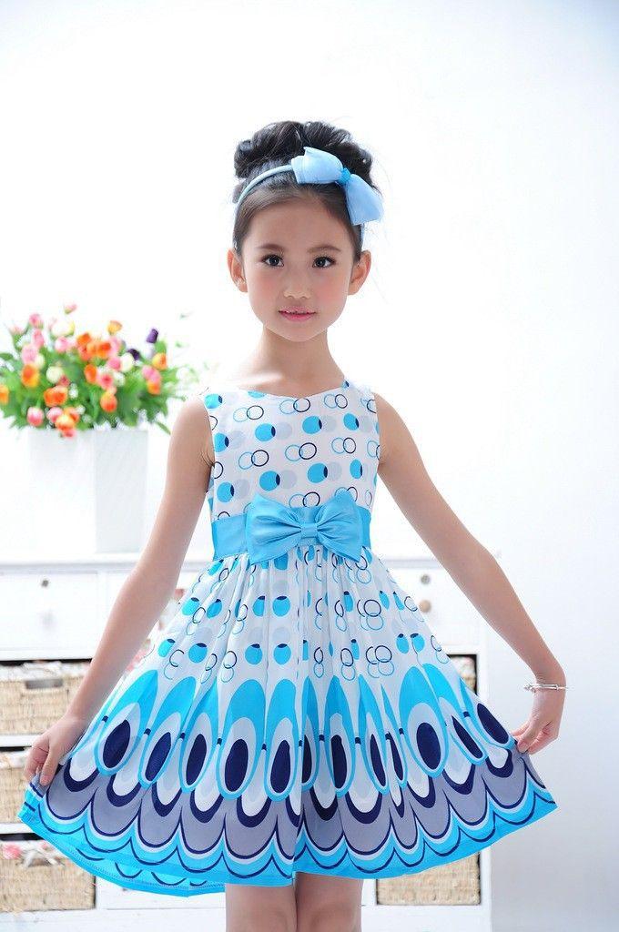 trajes de verano casual 2014 | ... de verano casual niñas vestidos de princesa arco, wu ropa de los
