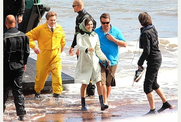 FLASHBACK:   Actors Colin Firth and Rachel Weisz pictured filming the  biopic based on sailor Donald Crowhurst in 2015   MARK PASSMORE/APEX