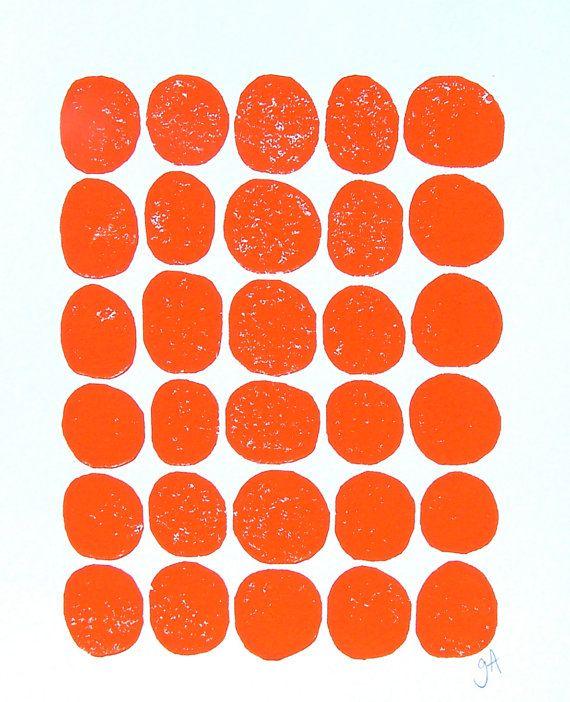 LINOCUT PRINT  30 dots  orange letterpress print by thebigharumph, $22.00