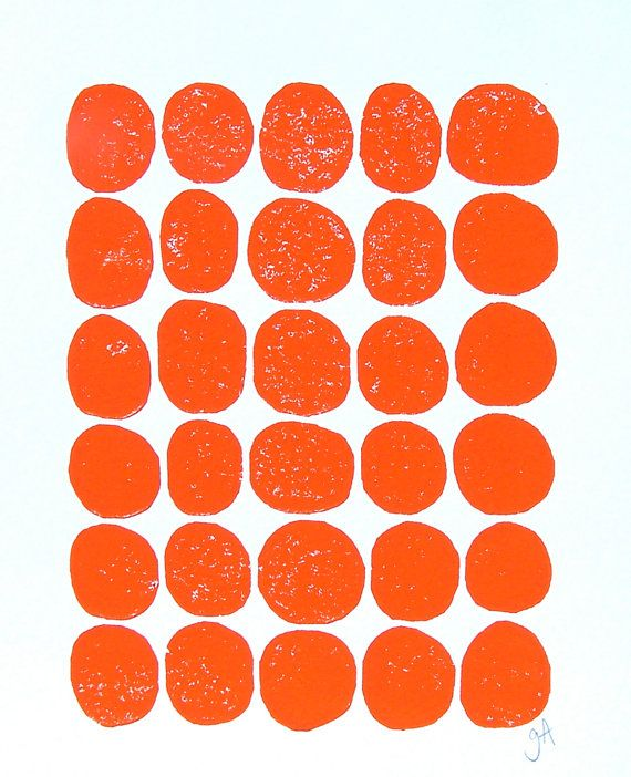 LINOCUT PRINT  30 dots  orange letterpress print by thebigharumph, $22.00