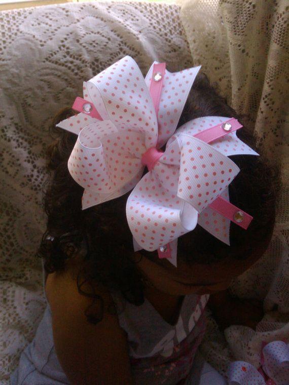 Pink polka dot boutique hairbow by kikibowz on Etsy, $5.00