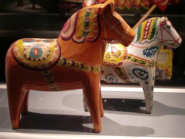 The exhibition of Dala horses in Dalarnas Museum in Falun