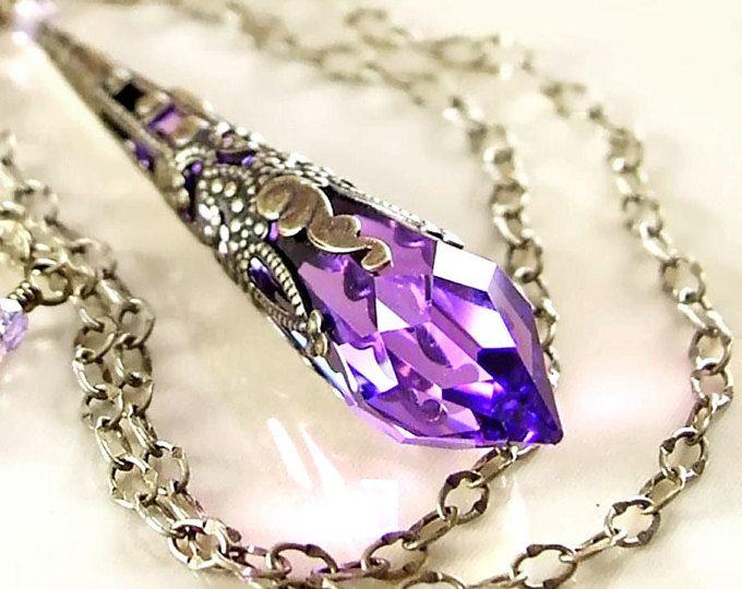 Lila Swarovski Kristall Halskette Messing antik Gold Kette lila Kristall-Anhänger Halskette Violett Amethyst Halskette viktorianischen Schmuck