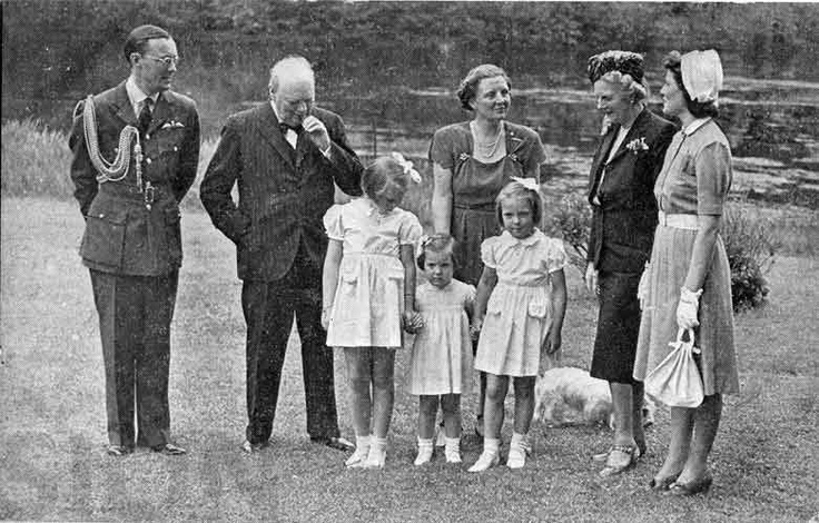 The Royal Dutch Family and Churchill at the Royal Palace in Soestdijk, The Netherlands at Sunday May 12, 1946.