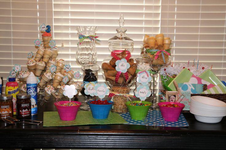 """Cute Birthday Party Idea """"Build your own Sundae Bar"""""""