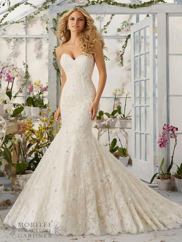 beautiful fishtail wedding gown with lace and beaded detailing fishtail morilee