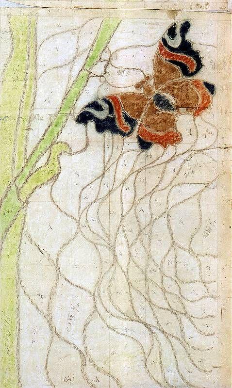 Fragment projektu witraża do kościoła Franciszkanów w Krakowie. Pastel z 1896 roku.