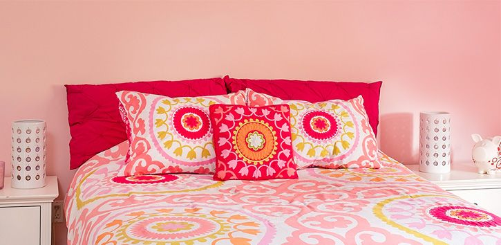 Big and bold patterns can add a trendy touch to a contemporary girl's bedroom - a novel twist on a study in pink.