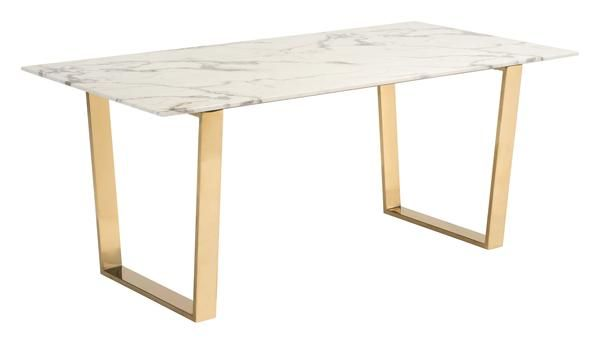 Atlas Dining Table with Faux Marble Top on Gold Stainless Steel Base