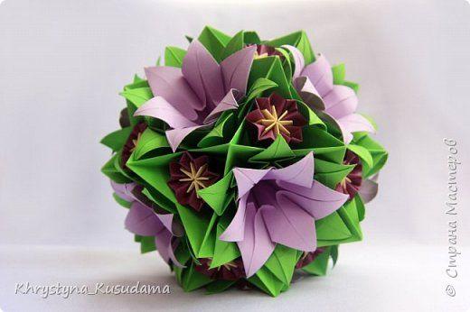 Кусудама Оригами фиолетовый гиацинт Бумага фото 1